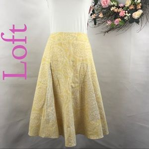 L0ft linen blend yellow godet floral skirt